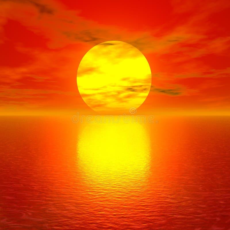 Puesta del sol roja asombrosa ilustración del vector