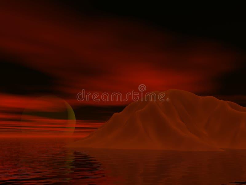 Puesta del sol roja de Iceburg ilustración del vector