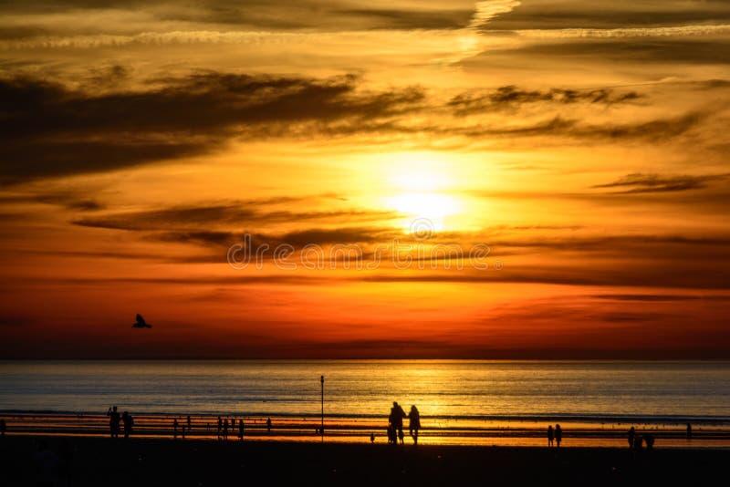 Puesta del sol roja de la playa foto de archivo libre de regalías