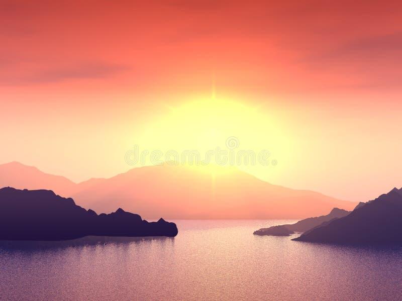 Puesta del sol roja fantástica foto de archivo
