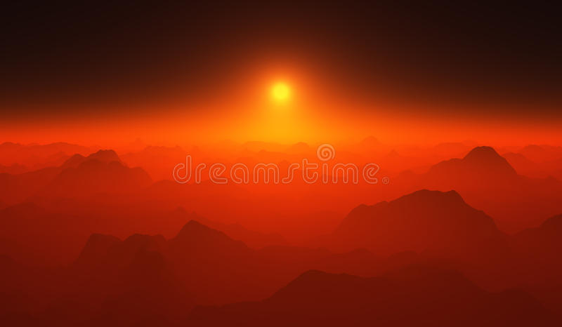 Puesta del sol roja sobre las montañas fotografía de archivo