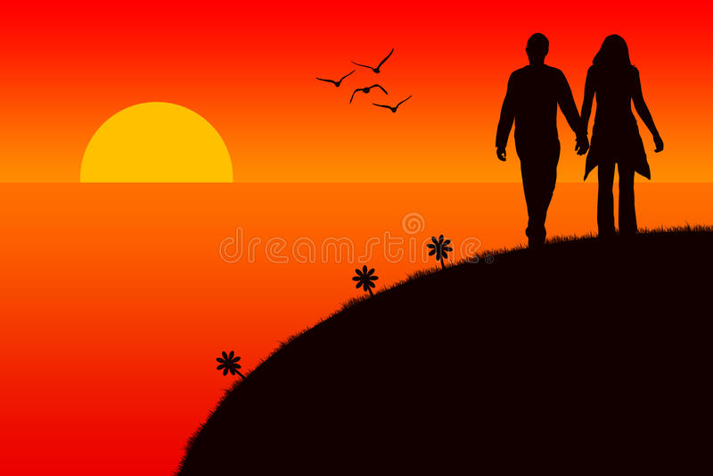 Puesta del sol romántica libre illustration