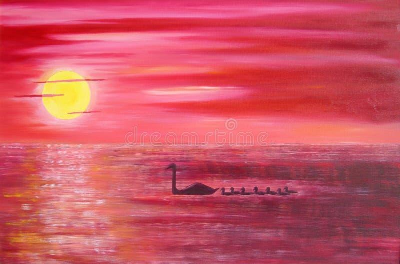 Puesta del sol rosada stock de ilustración