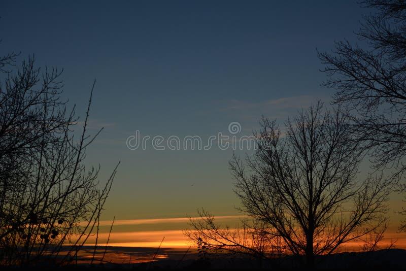 Puesta del sol rural del rancho del país vinícola con los árboles y las nubes imagen de archivo