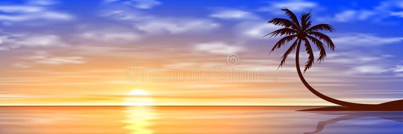 Puesta del sol, salida del sol con la palmera stock de ilustración