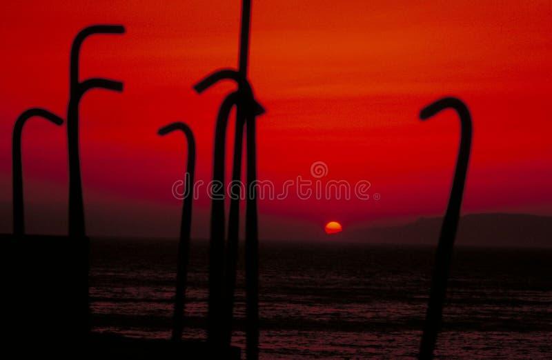 Puesta del sol sangrienta fotografía de archivo libre de regalías