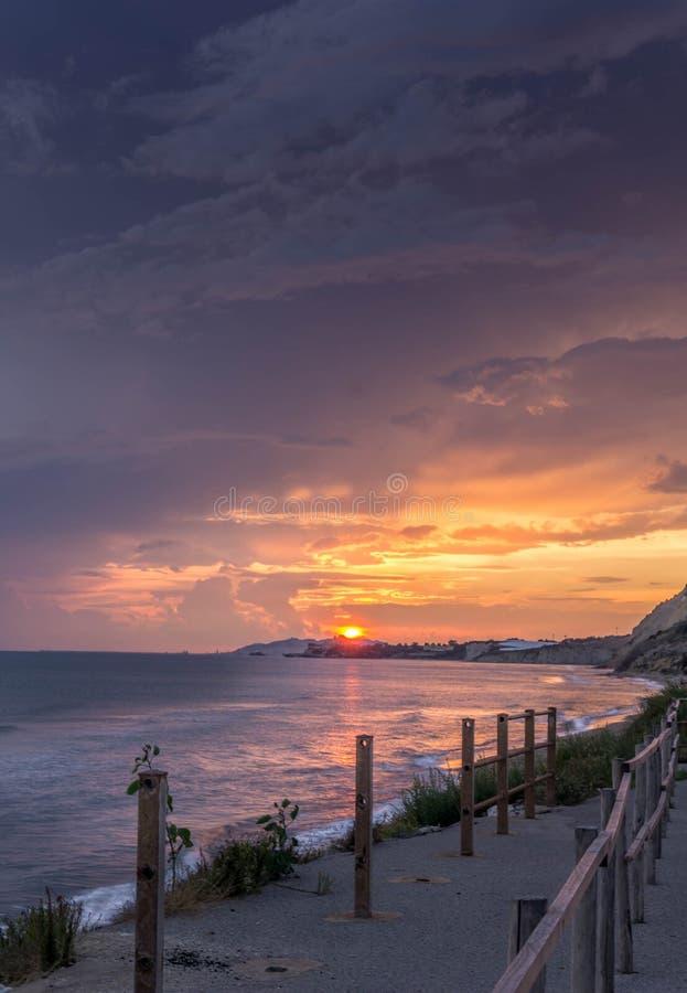 Puesta del sol Sicilia Italia fotografía de archivo