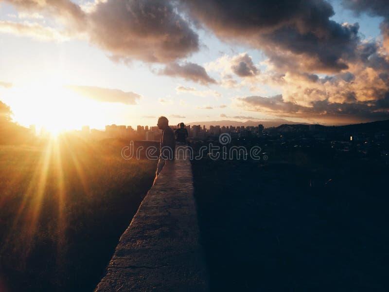 Puesta del sol sincera fotos de archivo