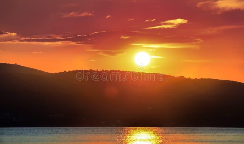 Puesta del sol Skyathos fotos de archivo