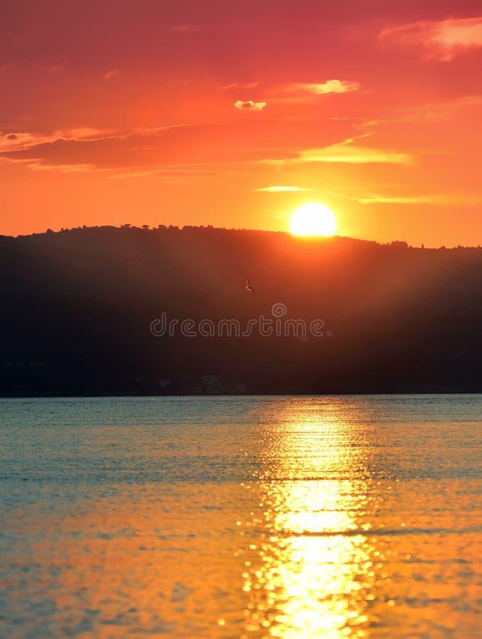 Puesta del sol Skyathos fotografía de archivo libre de regalías