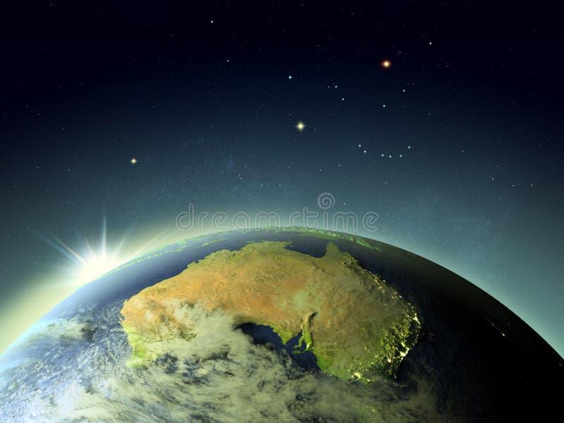 Puesta del sol sobre Australia del espacio ilustración del vector