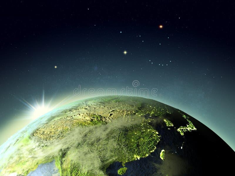 Puesta del sol sobre el Este de Asia del espacio ilustración del vector