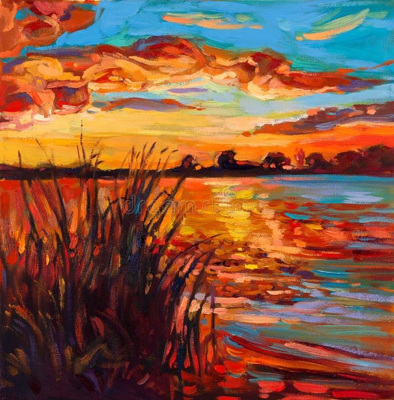 Puesta del sol sobre el lago stock de ilustración