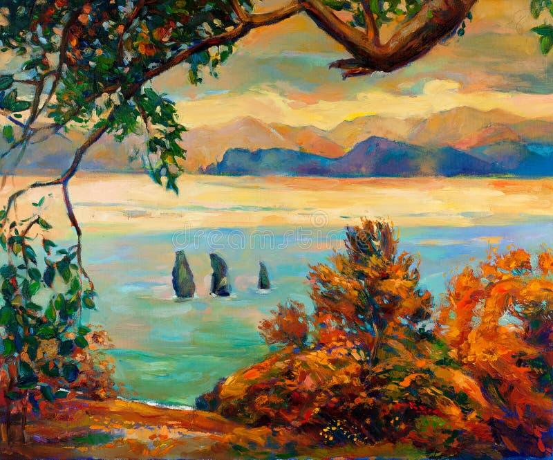 Puesta del sol sobre el lago libre illustration