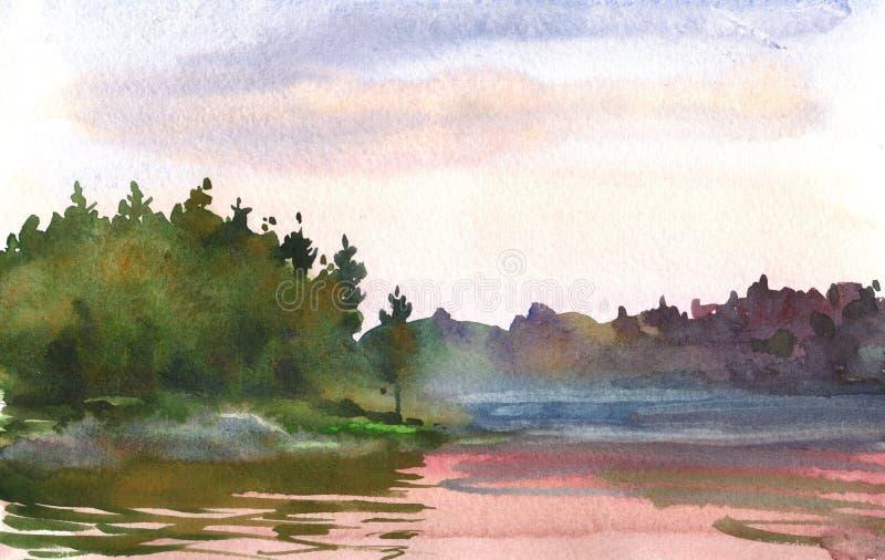 Puesta del sol sobre el lago ilustración del vector