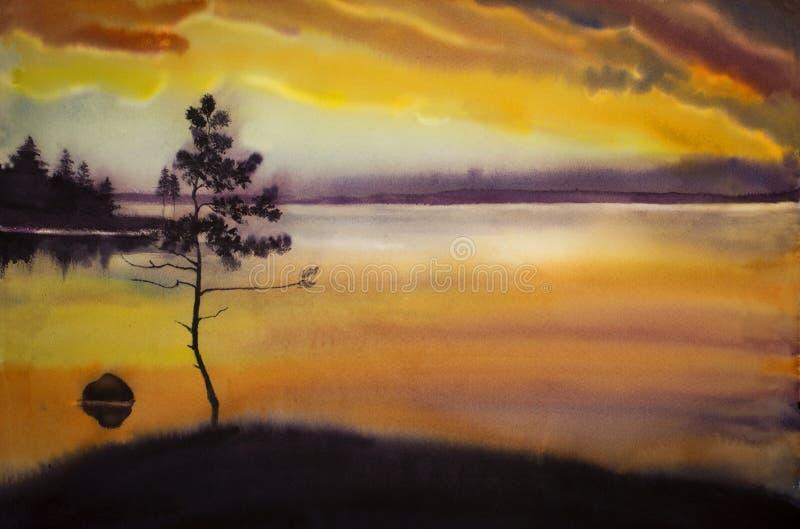 Puesta del sol sobre el lago del bosque imágenes de archivo libres de regalías