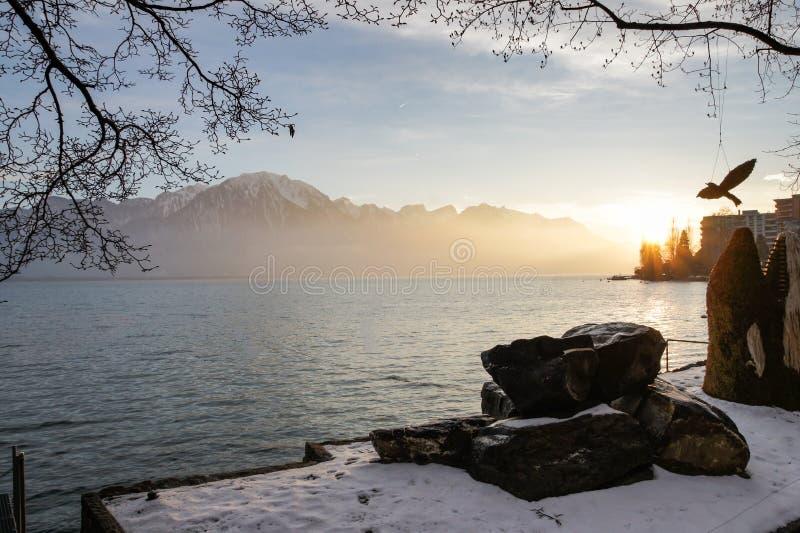Puesta del sol sobre el lago Lemán foto de archivo libre de regalías