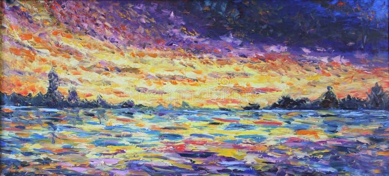 Puesta del sol sobre el lago, pintura al óleo ilustración del vector