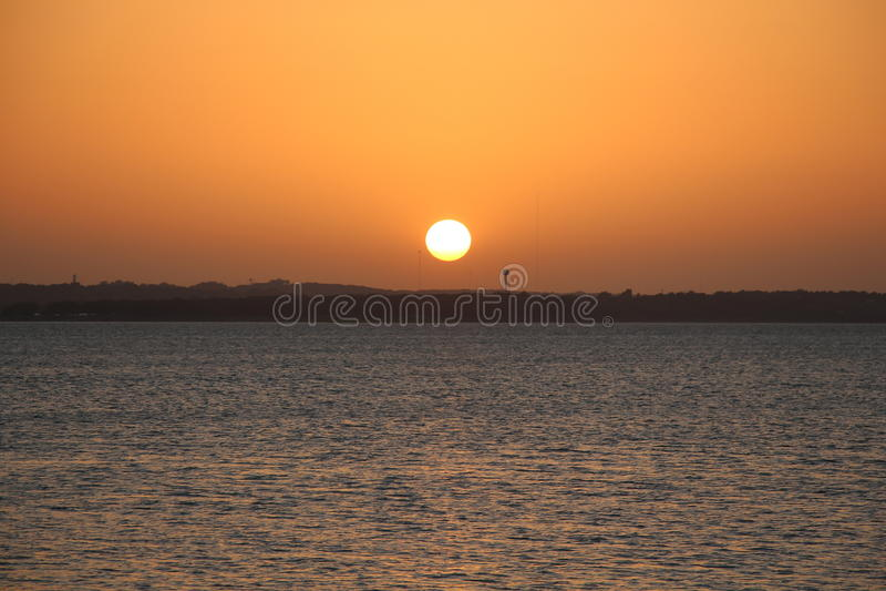 Puesta del sol sobre el lago Texoma fotos de archivo libres de regalías
