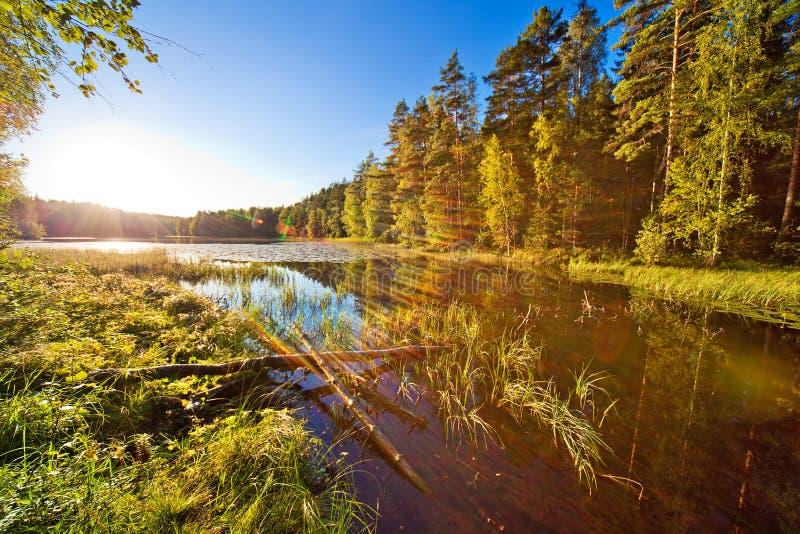 Puesta del sol sobre el pequeño lago imágenes de archivo libres de regalías