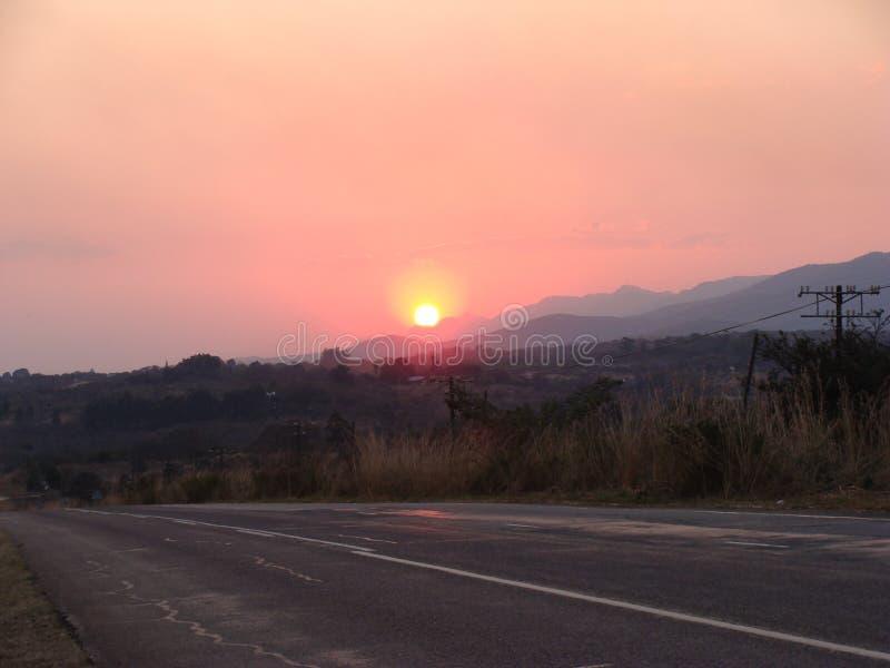 Puesta del sol sobre el Soutpansberg imagen de archivo