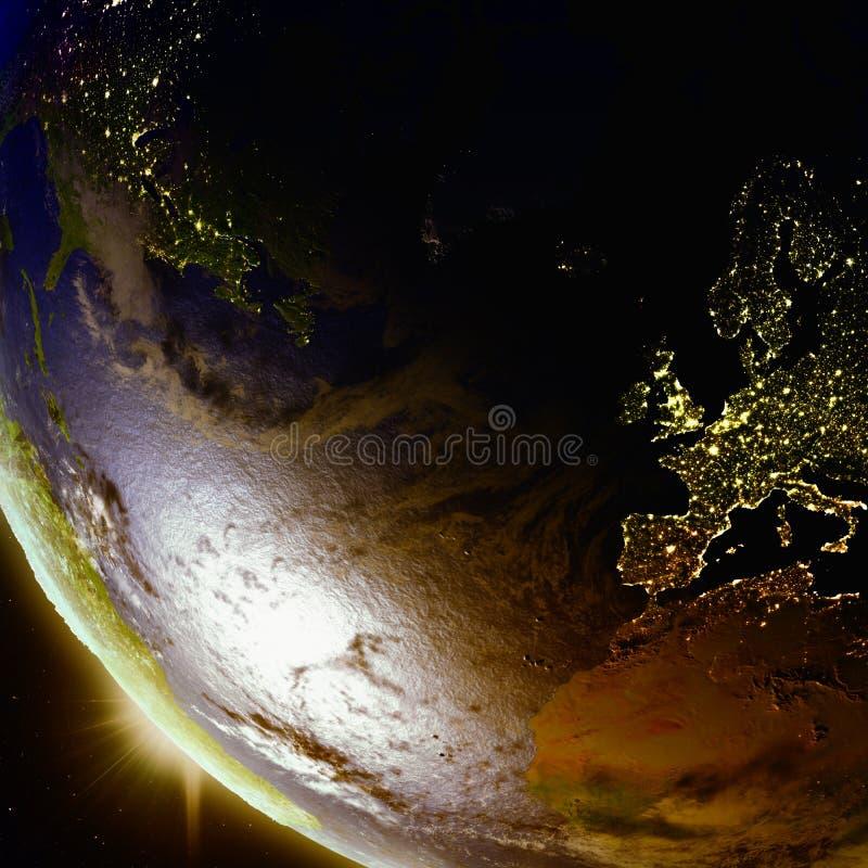 Puesta del sol sobre Europa y Norteamérica del espacio stock de ilustración