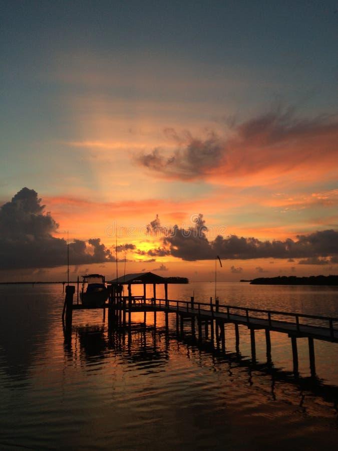 Puesta del sol sobre golfo fotos de archivo libres de regalías