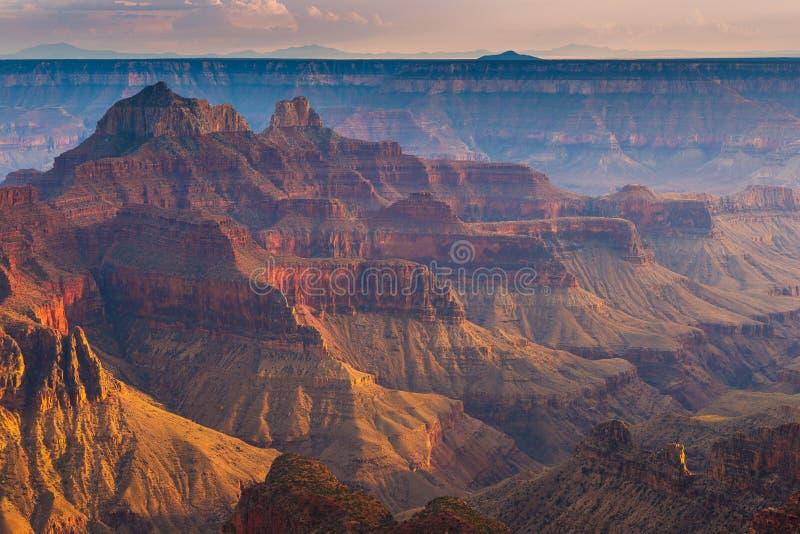Puesta del sol sobre Grand Canyon, borde del norte foto de archivo libre de regalías