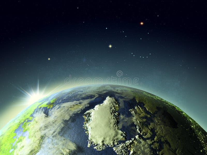 Puesta del sol sobre Groenlandia del espacio ilustración del vector