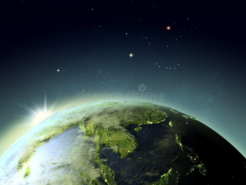 Puesta del sol sobre Indochina del espacio stock de ilustración