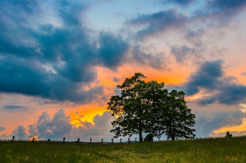 Puesta del sol sobre la cerca del splitrail, parque nacional del Cumberland Gap fotos de archivo libres de regalías
