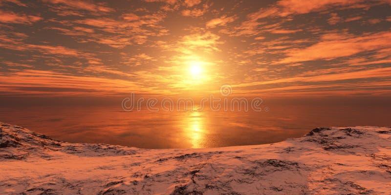 Puesta del sol sobre la costa foto de archivo