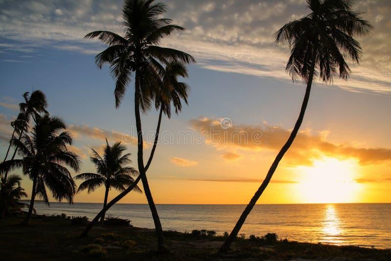 Puesta del sol sobre la laguna de Ouvea en la isla de Ouvea, islas de lealtad, Nueva Caledonia imagen de archivo libre de regalías