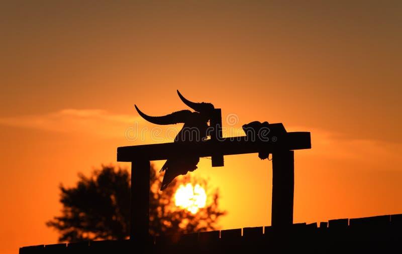 Puesta del sol sobre la puerta del rancho de ganado foto de archivo