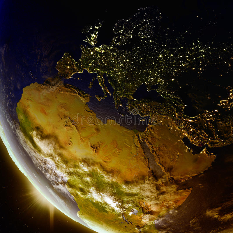 Puesta del sol sobre la región del EMEA del espacio libre illustration