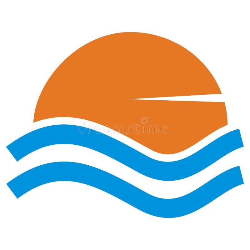 Puesta del sol sobre la superficie del agua stock de ilustración