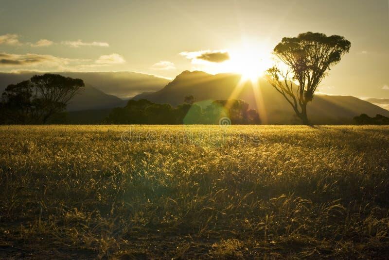 Puesta del sol sobre las montañas y los campos australianos imagenes de archivo