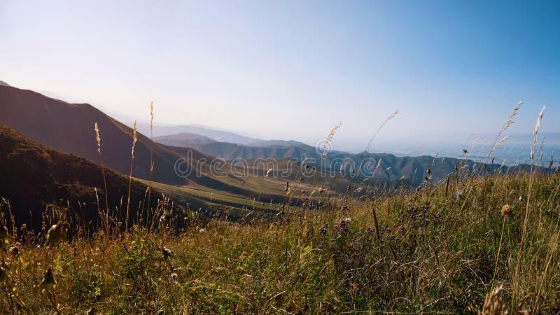 Puesta del sol sobre los picos de montaña, naturaleza que sorprende, verano del cuento de hadas en las montañas Fondo hermoso imagen de archivo libre de regalías