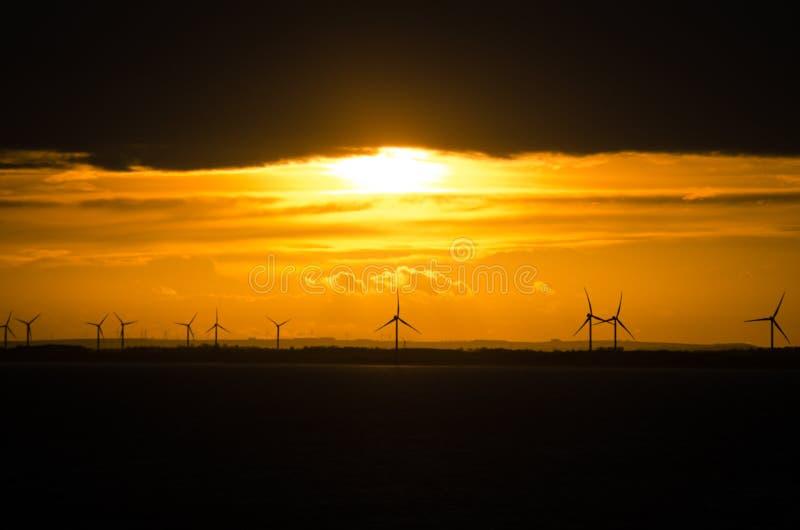 Puesta del sol sobre parque eólico costero fotos de archivo libres de regalías
