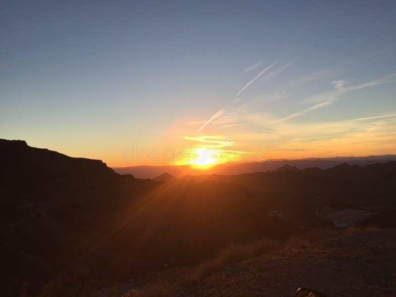 Puesta del sol sobre Route 66 fotos de archivo libres de regalías