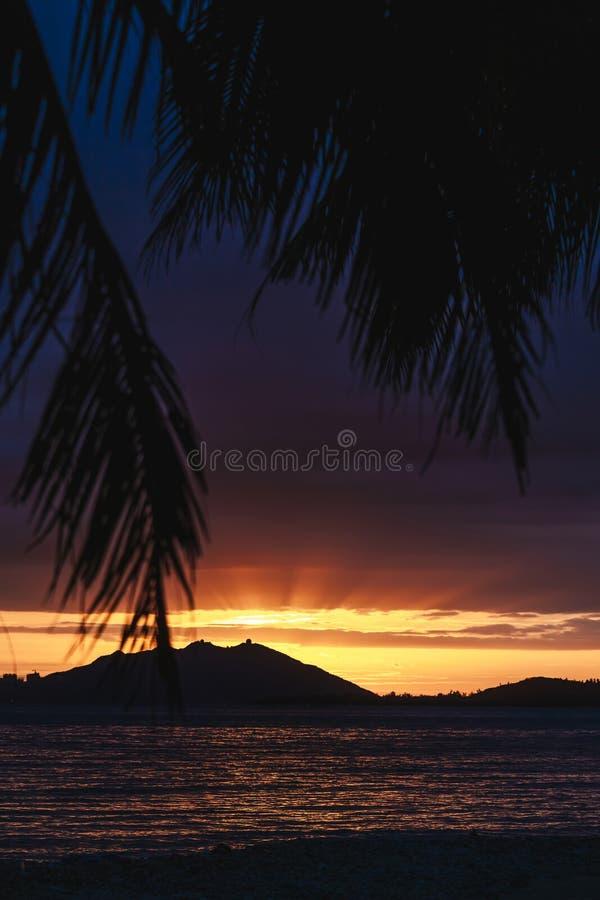 Puesta del sol sobre Sanya con el árbol de coco que enmarca la puesta del sol imagen de archivo libre de regalías