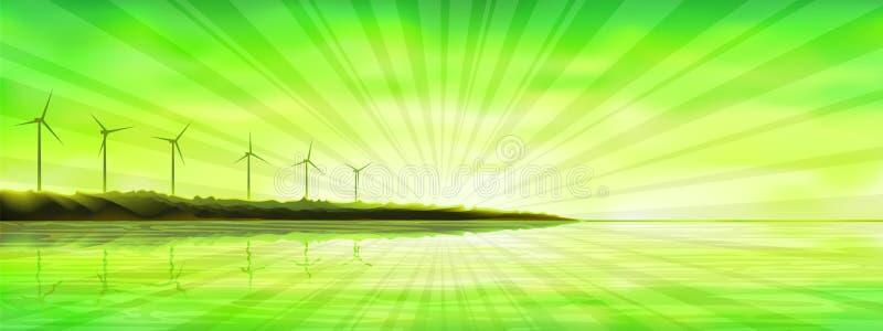 Puesta del sol sobre una isla del océano con las turbinas de viento libre illustration