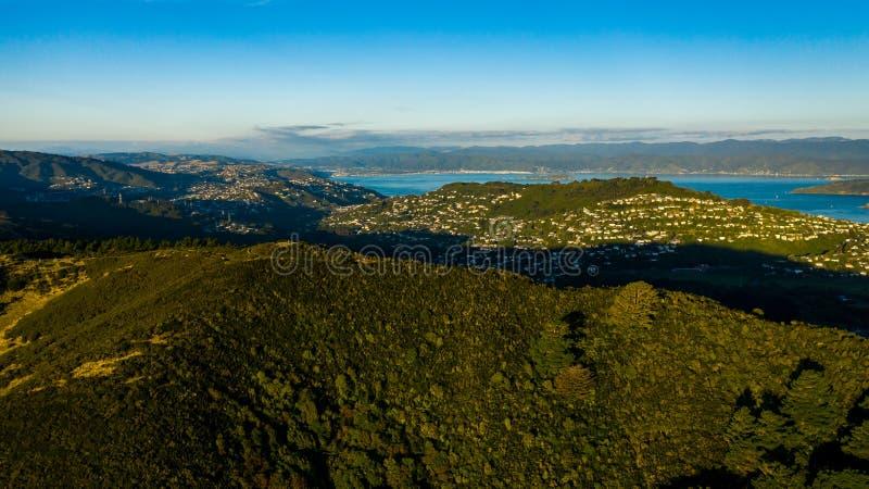 Puesta del sol sobre Wellington New Zealand foto de archivo libre de regalías