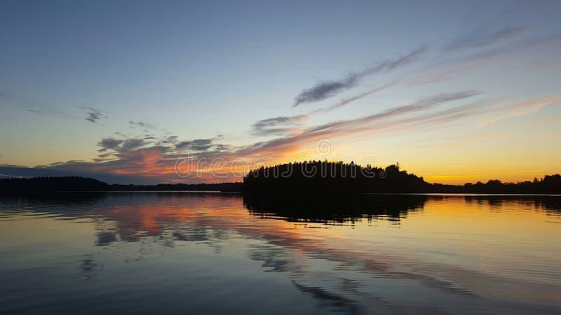 Puesta del sol sueca foto de archivo
