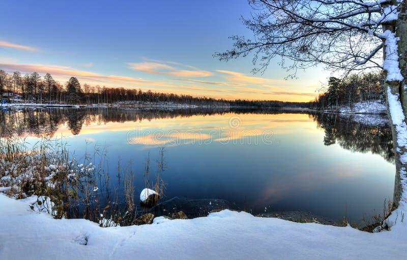 Puesta del sol sueca del lago en la estación del invierno de los abetos imagenes de archivo