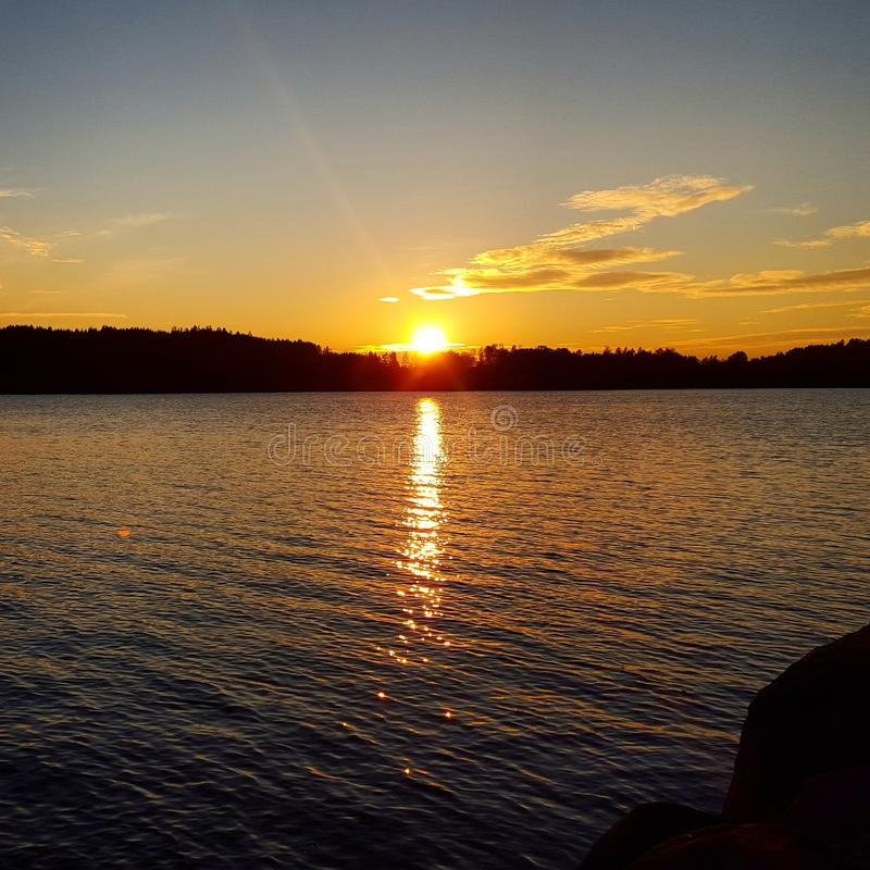 Puesta del sol Suecia imagen de archivo libre de regalías