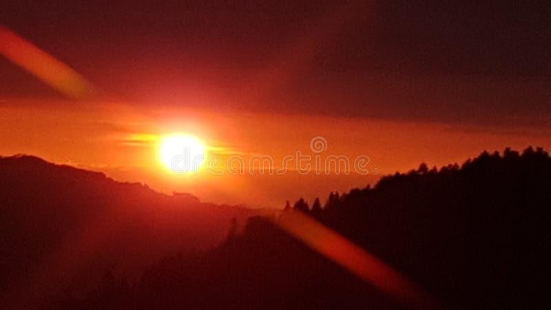 Puesta del sol Suiza Schallenberg foto de archivo