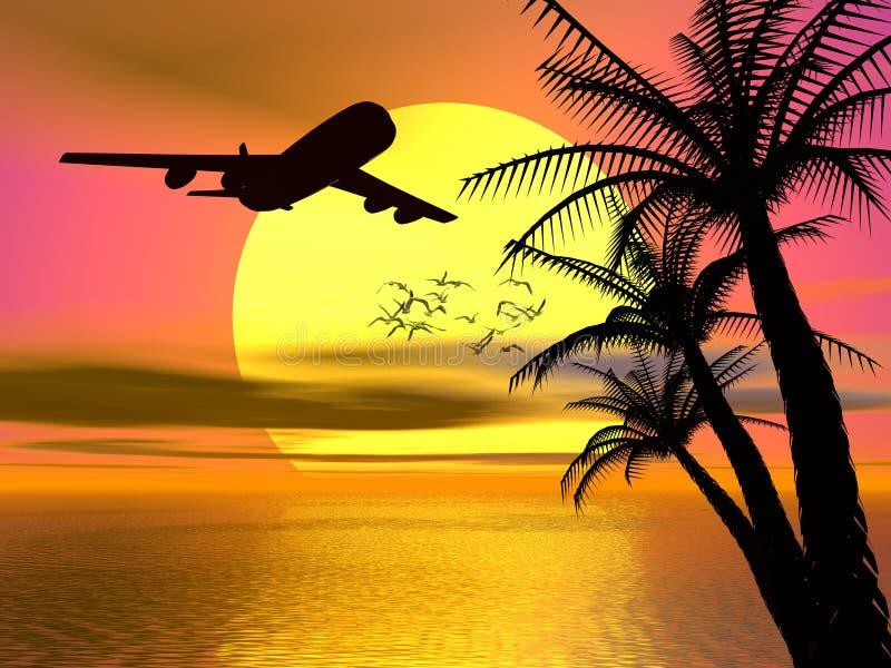 Puesta del sol tropical con el aeroplano. stock de ilustración