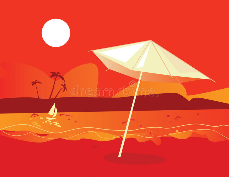 Puesta del sol tropical de la playa stock de ilustración