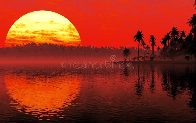 Puesta del sol tropical del ambiente stock de ilustración